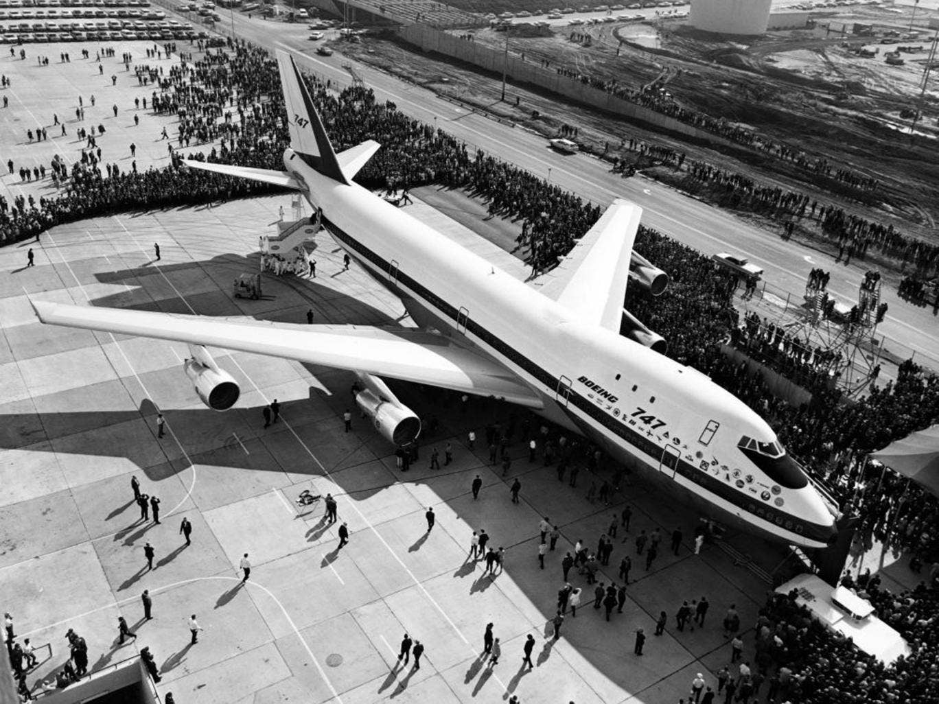The first Boeing 747 rolls out of the Boeing plant in 1968