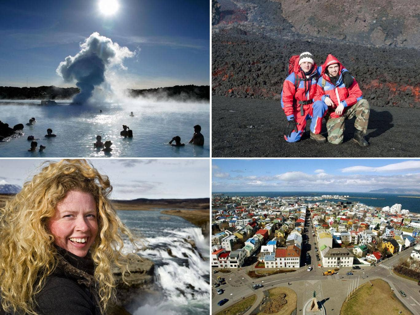 Clockwise from top left: the Blue Lagoon;  Fimmvorduhals volcano; Reykjavik; Gullfoss waterfall
