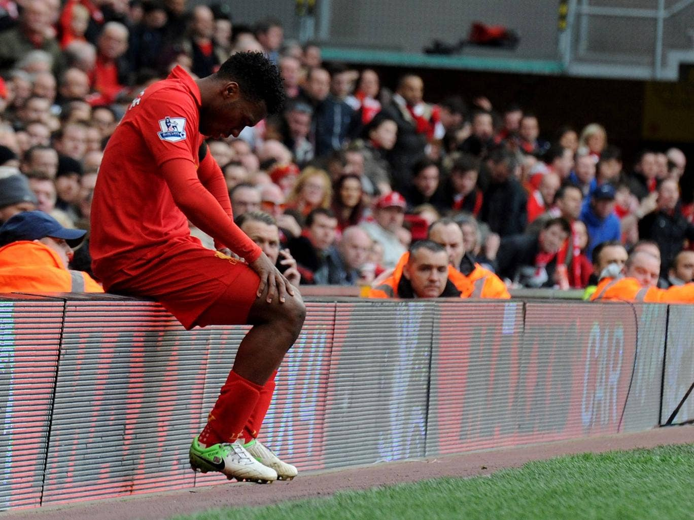 Liverpool striker Daniel Sturridge shows his frustration against West Ham