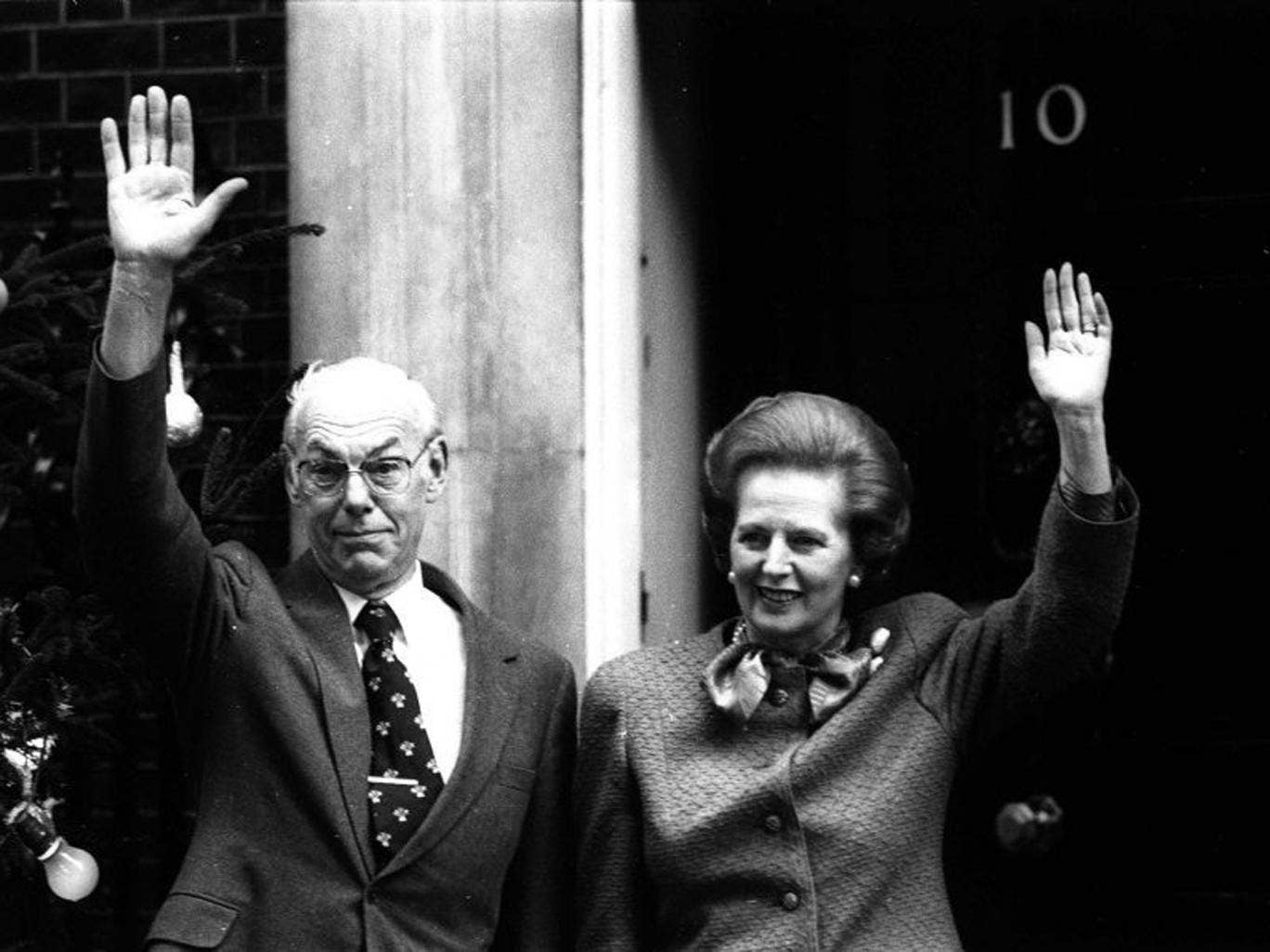 British Prime Minister Margaret Thatcher and husband Denis Thatcher outside 10 Downing Street