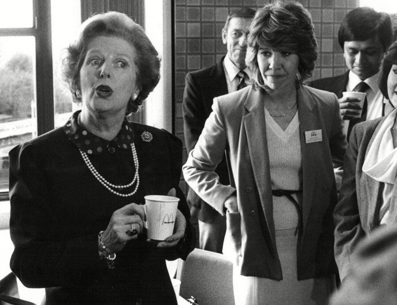 Margaret Thatcher in a McDonalds branch in East Finchley