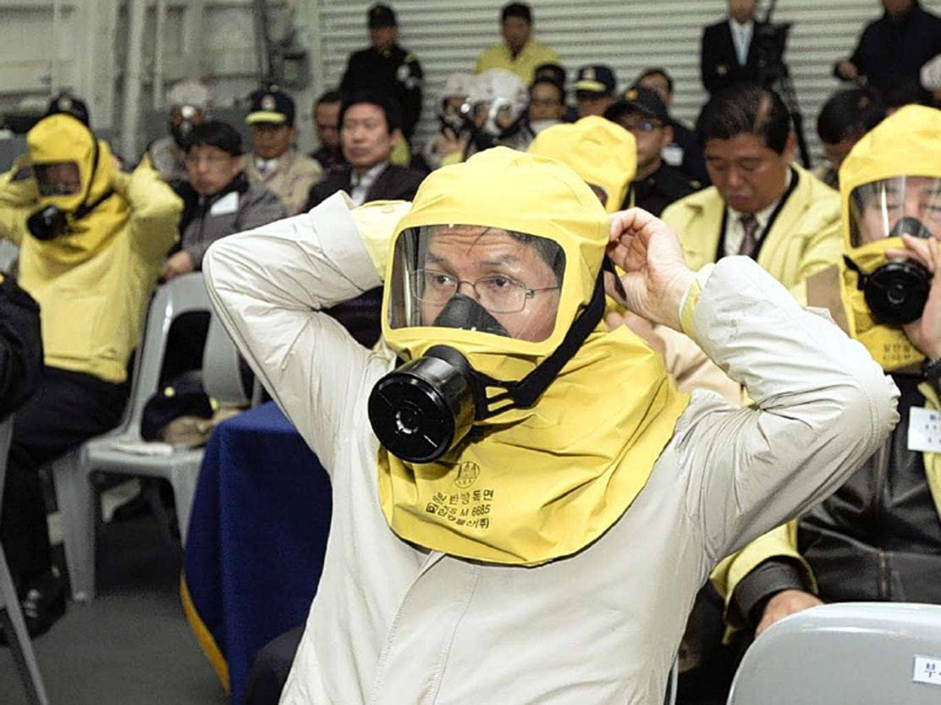 A civil defence drill at a navy base in Pyeongtaek, south of Seoul, yesterday. Around 500 South Koreans are still at the Kaesong industrial complex