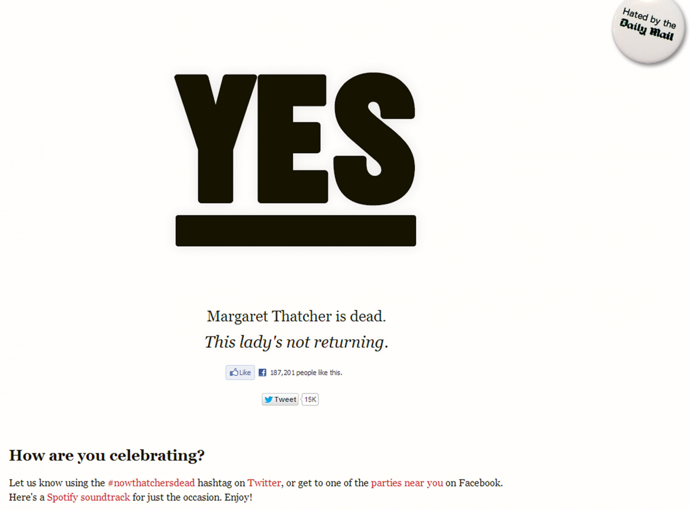 The 'Is Thatcher Dead Yet' website