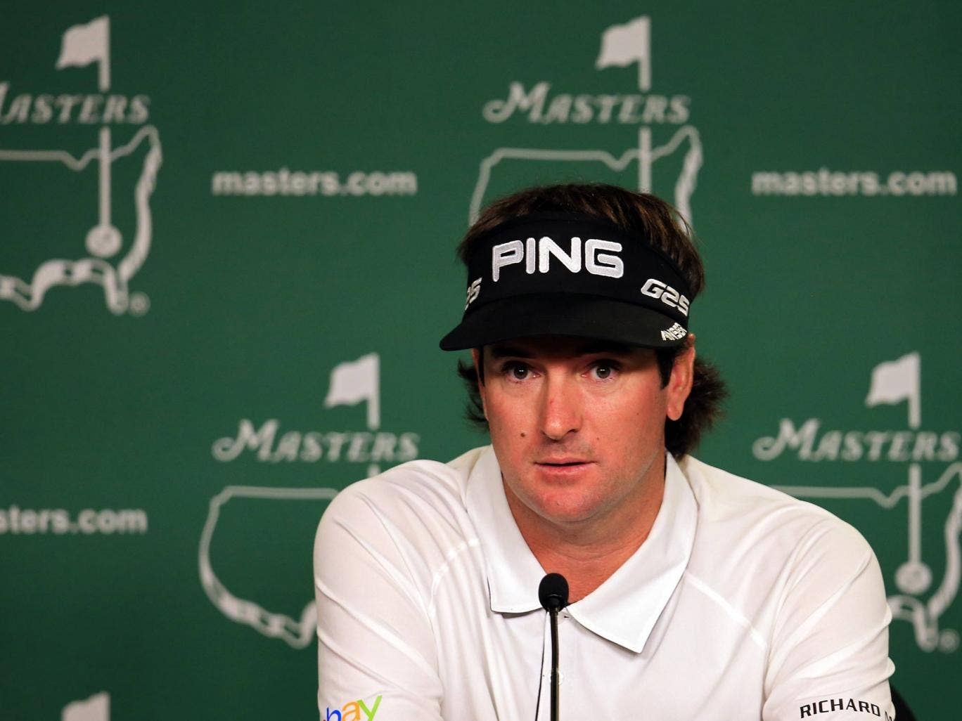 Bubba Watson of the United States speaks to the media