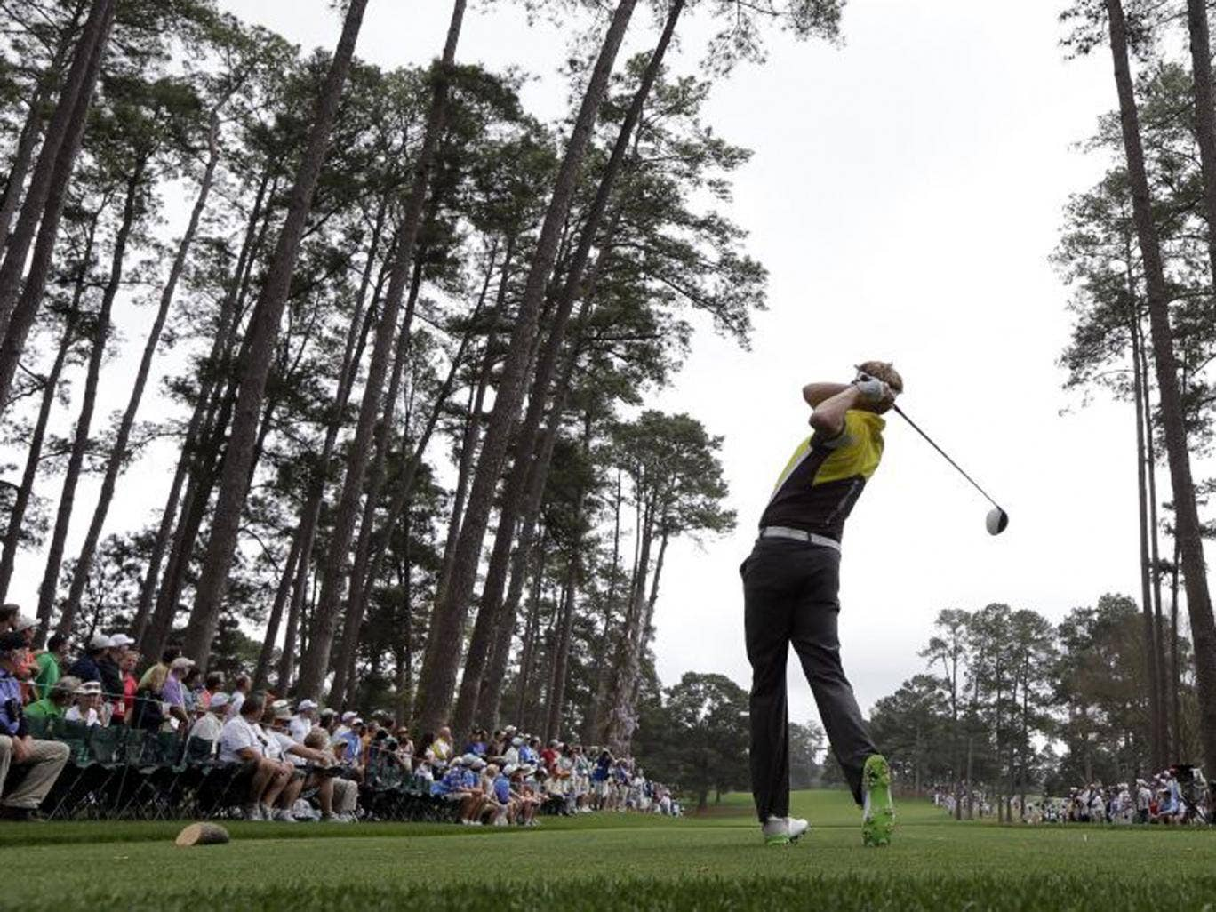 David Lynn launches his drive down the 16th on his way to a 68 on his Masters debut