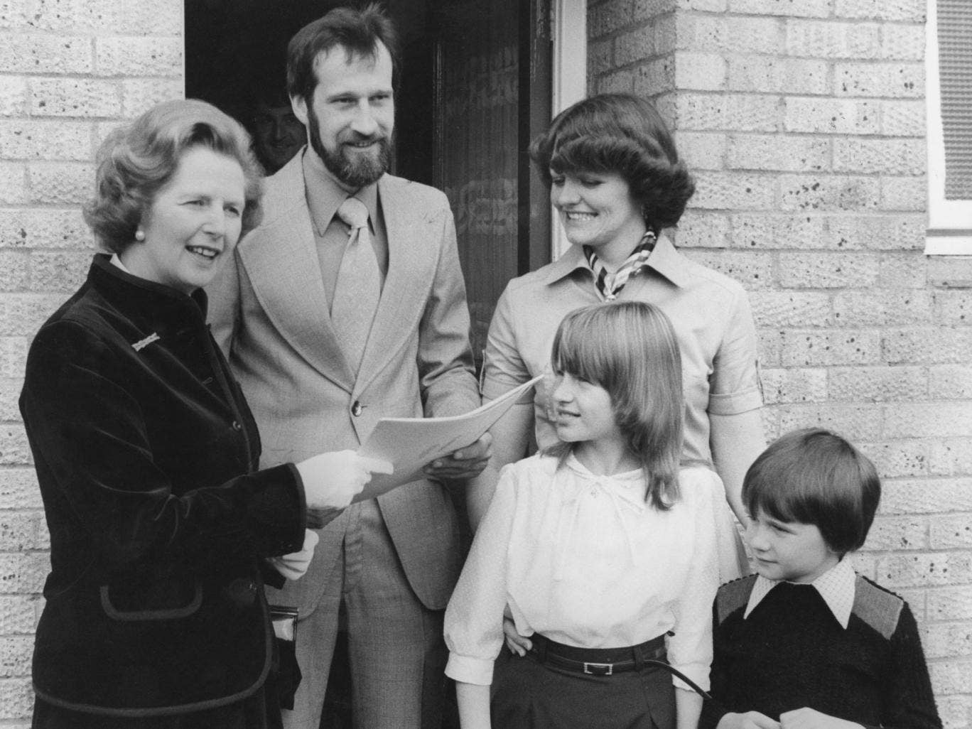 Margaret Thatcher with new council-house owners