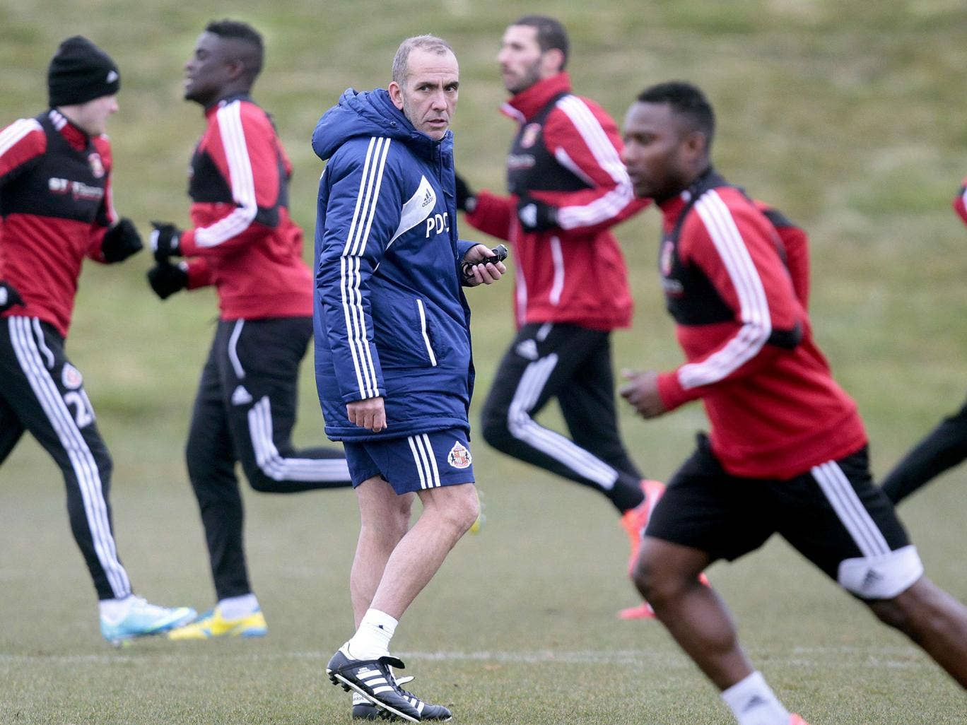 Tyne trials: Sunderland's manager Paolo Di Canio tests his players against the clock ahead of today's derby