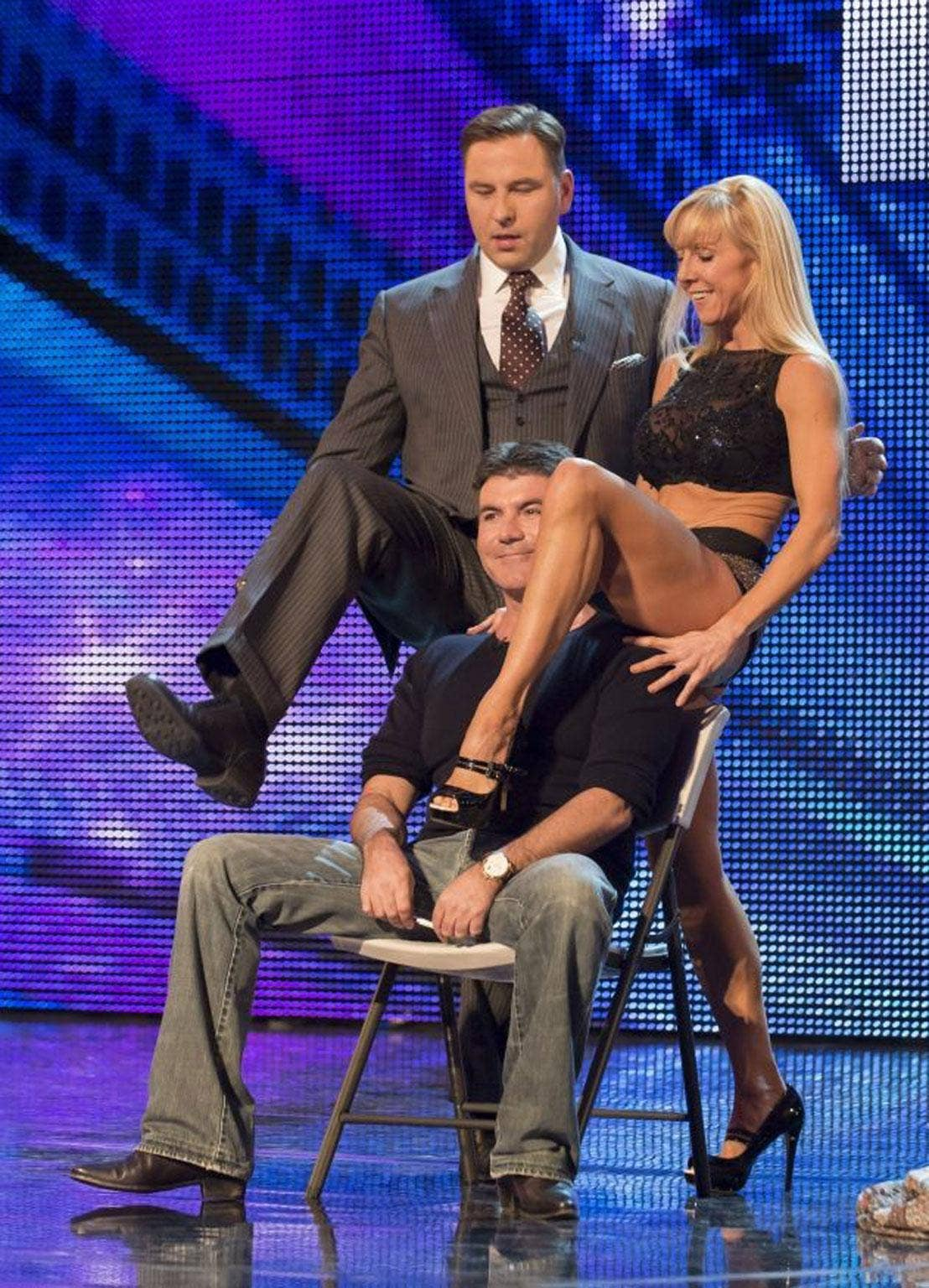 David Walliams, Simon Cowell joined Keri, a contestant, on the Britainís Got Talent stage for the first time ever.