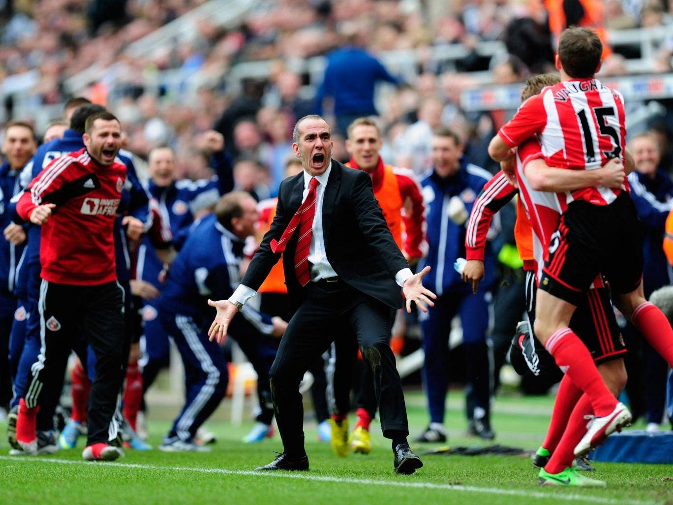 Paolo Di Canio celebrates during Sunderland's victory over Newcastle in the Premier League at St James' Park