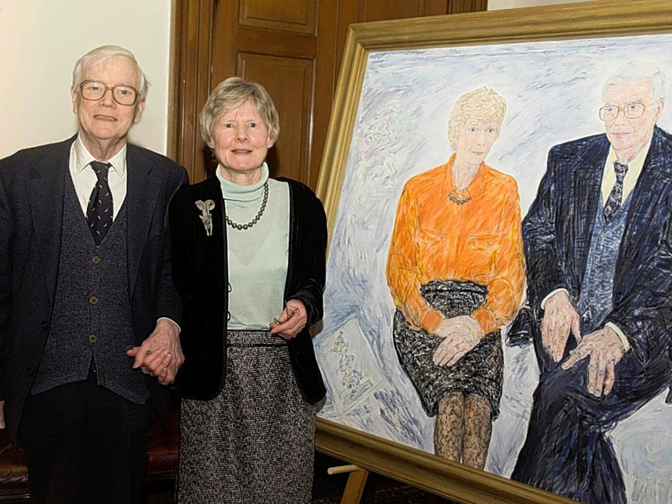 Murray and his wife Noreen, with their double portrait; they made a formidable team