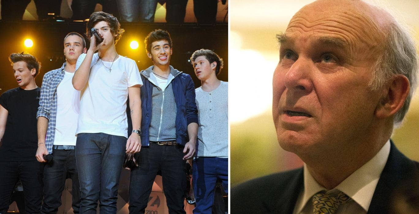 Left: Boy band One Direction; Right, business secretary Vince Cable