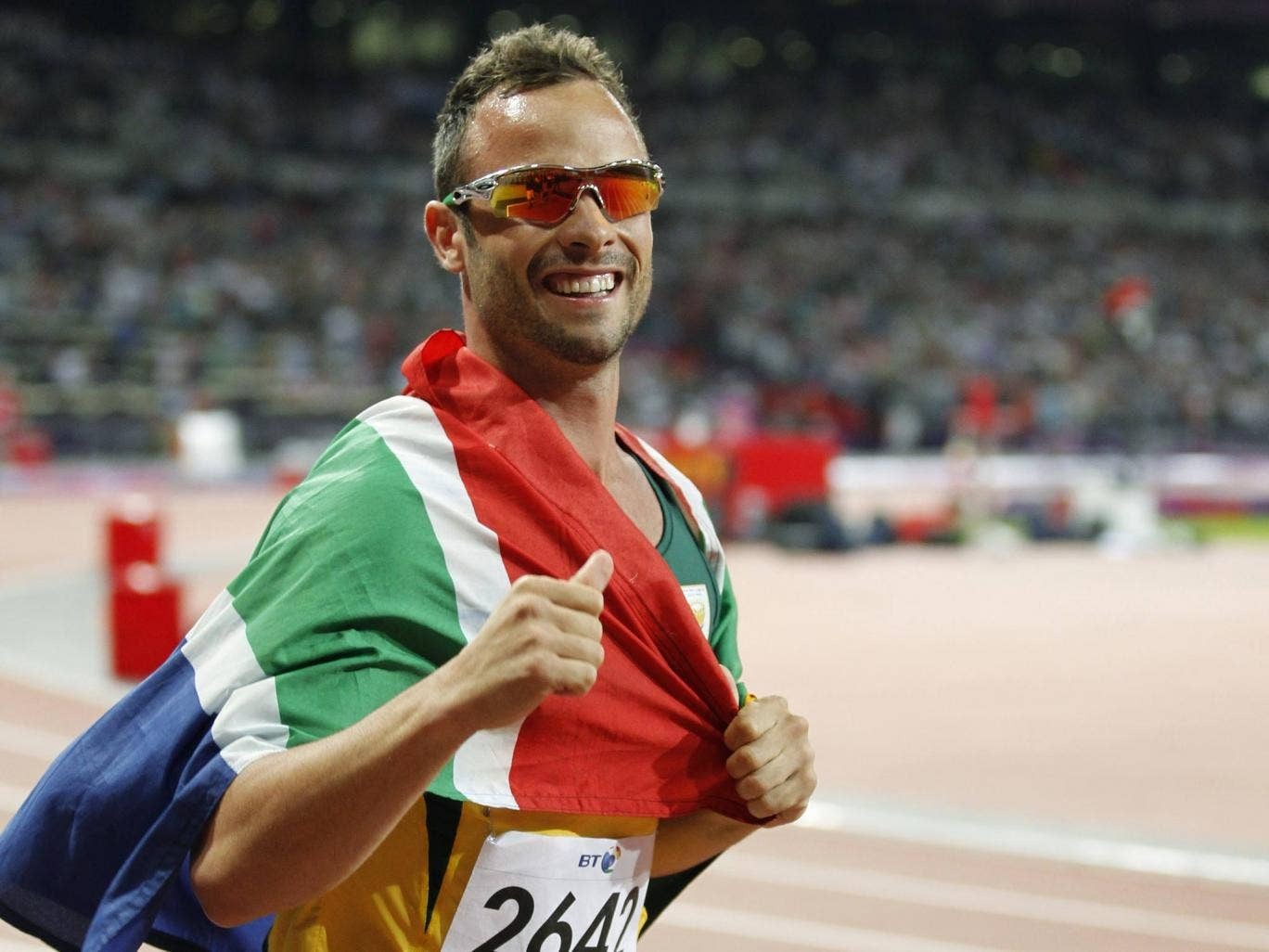 Oscar Pistorius at the Olympic Stadium during London 2012