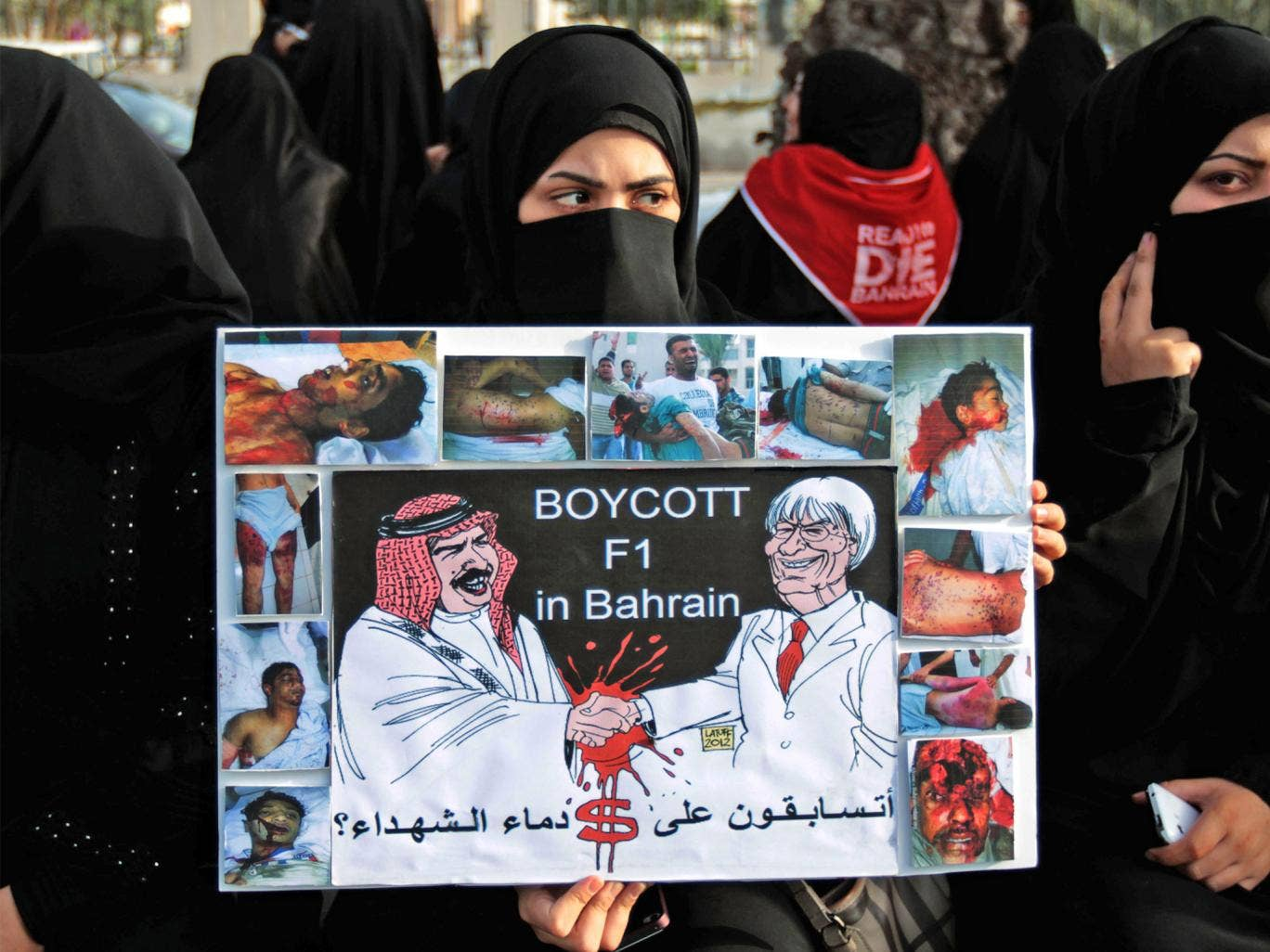 Bahrainis protest against the Formula One Grand Prix due to take place this weekend