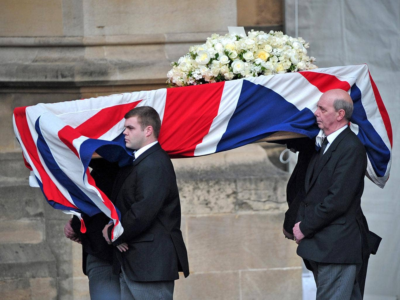 Pallbearers carry the coffin of Margaret Thatcher as it arrives to be laid at the Crypt Chapel of St Mary Undercoft in the Houses of Parliament