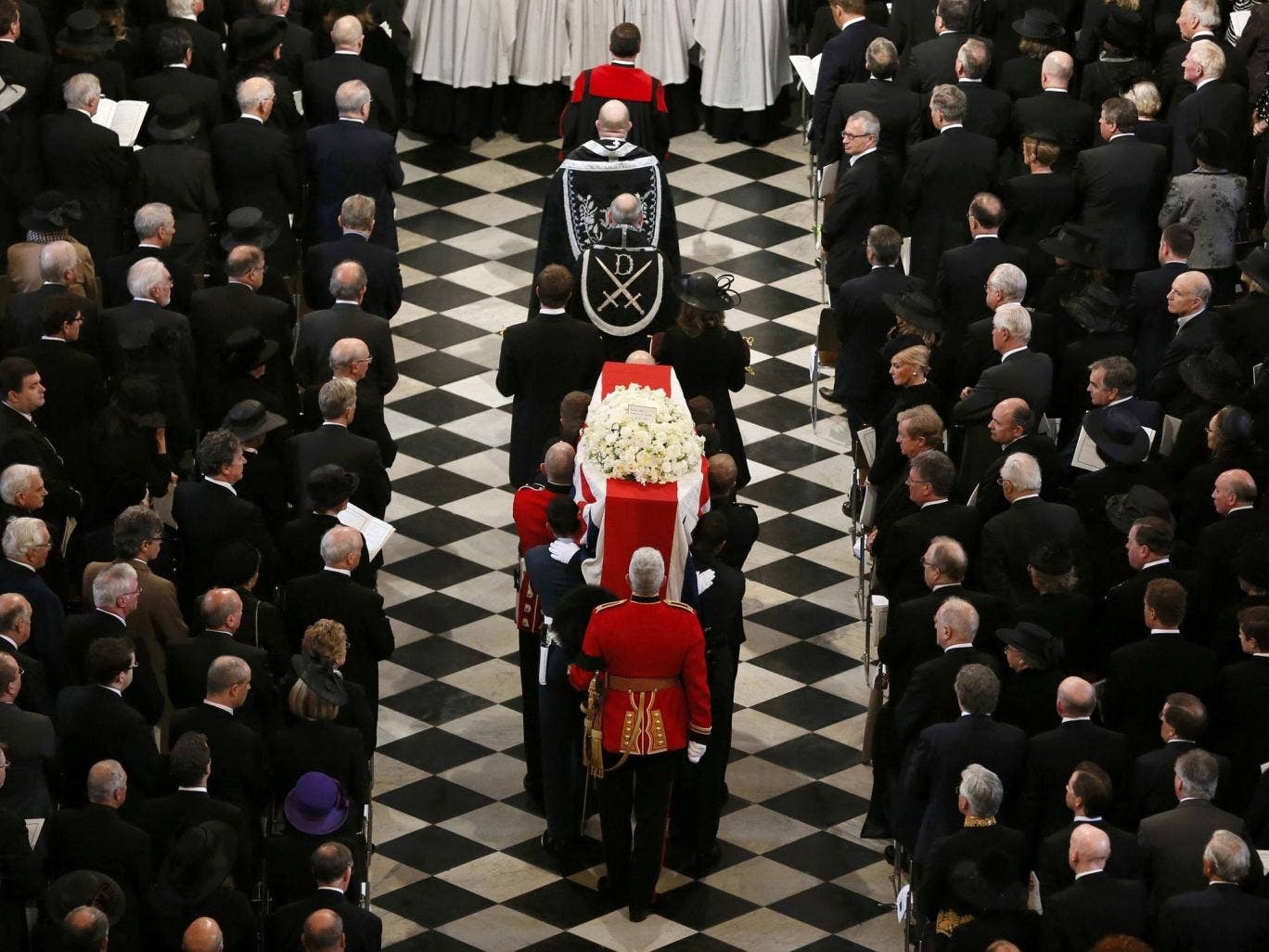 The coffin containing the body of former British Prime Minister Margaret Thatcher arrives for the ceremonial funeral at St Paul's Cathedral
