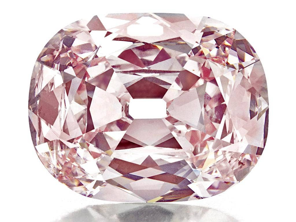 A close-up view of the historic cushion-cut fancy intense pink diamond, weighing approximately 34.65 carats