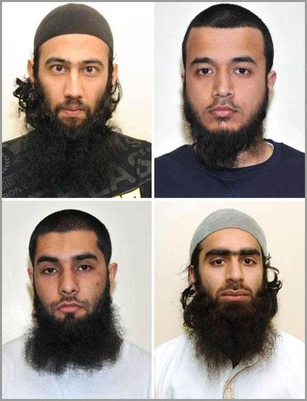 A montage issued by the Metropolitan Police of (top row from left) Zahid Iqbal, Mohammed Sharfaraz Ahmed and (bottom row from left) Umar Arshad with Syed Farhan Hussain who admitted discussing carrying out a terror attack in the UK using homemade bombs an