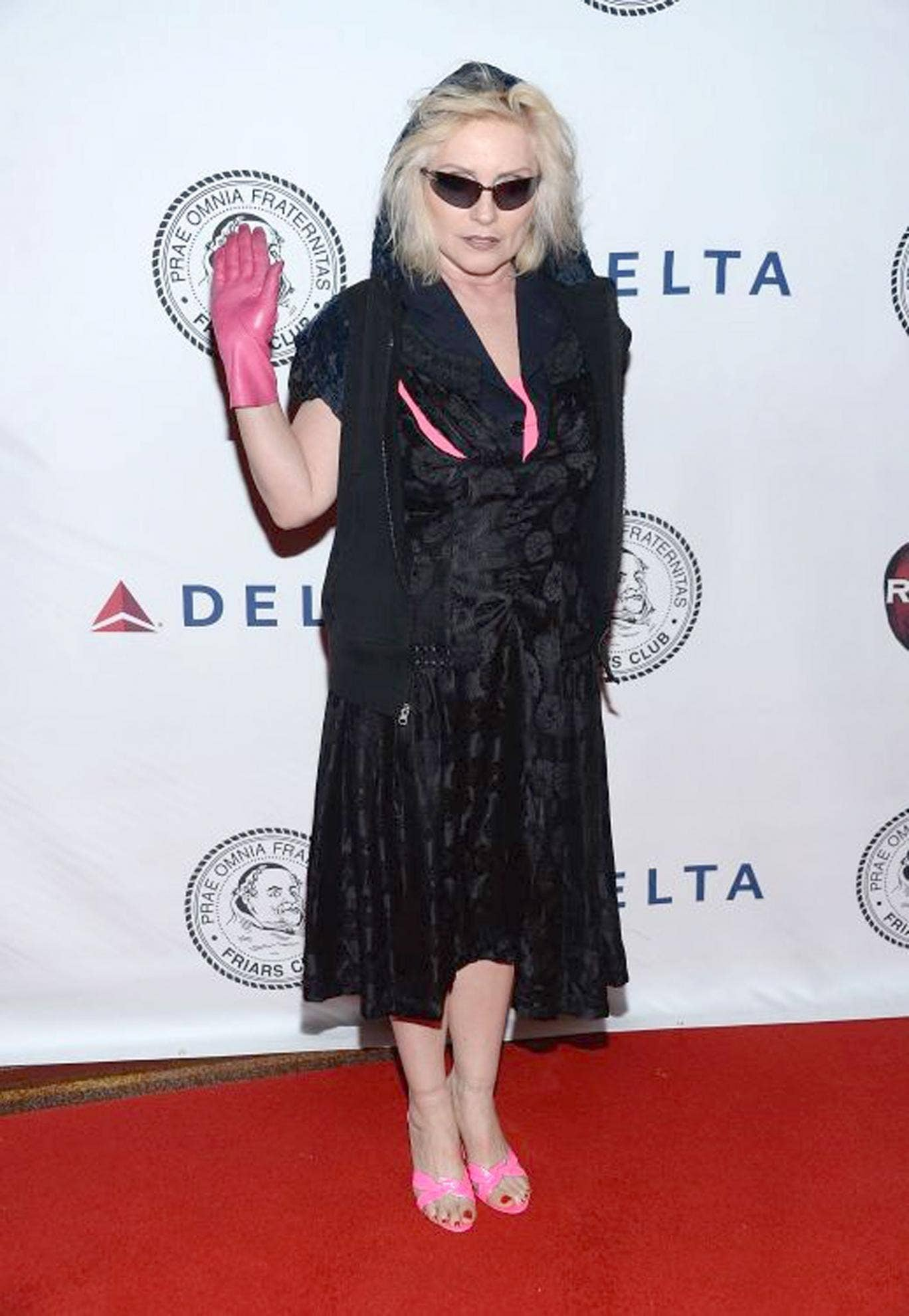In the mix: Debbie Harry's outfit is clearly the result of an extensive game of wardrobe roulette