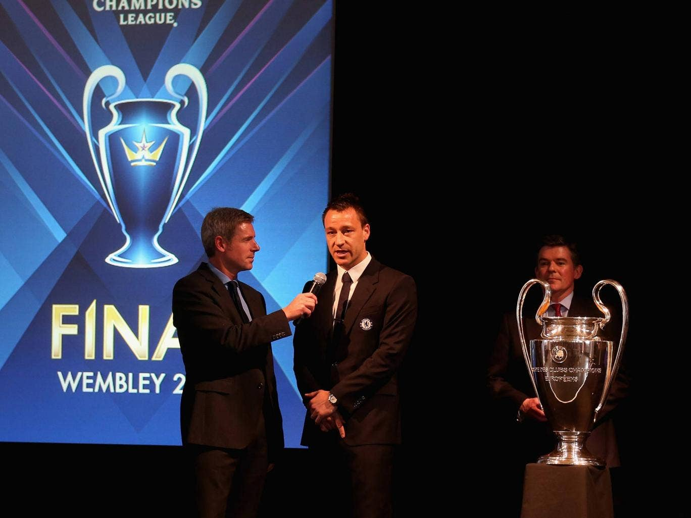 John Terry at an event to hand over the Champions League trophy