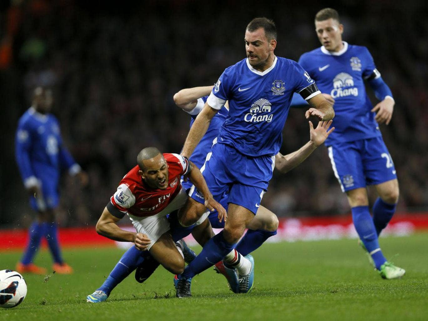 Darron Gibson received a yellow card for his challenge on Theo Walcott, but was not sent off for a second similar tackle