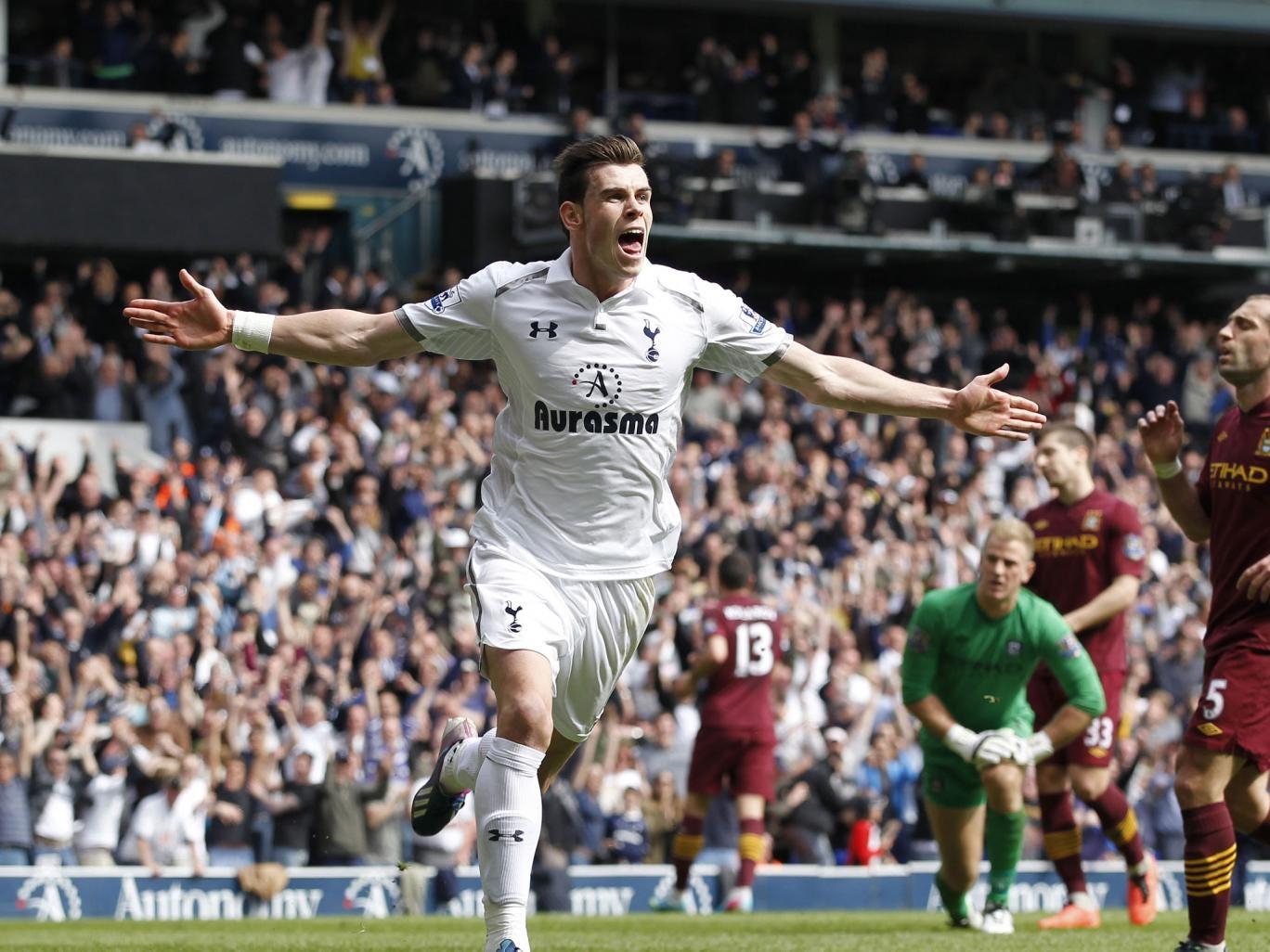 Gareth Bale celebrates his goal for Tottenham