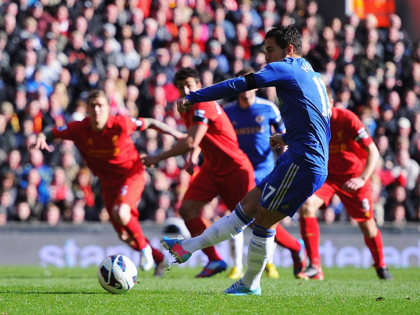 Chelsea's Eden Hazard converts from the penalty spot