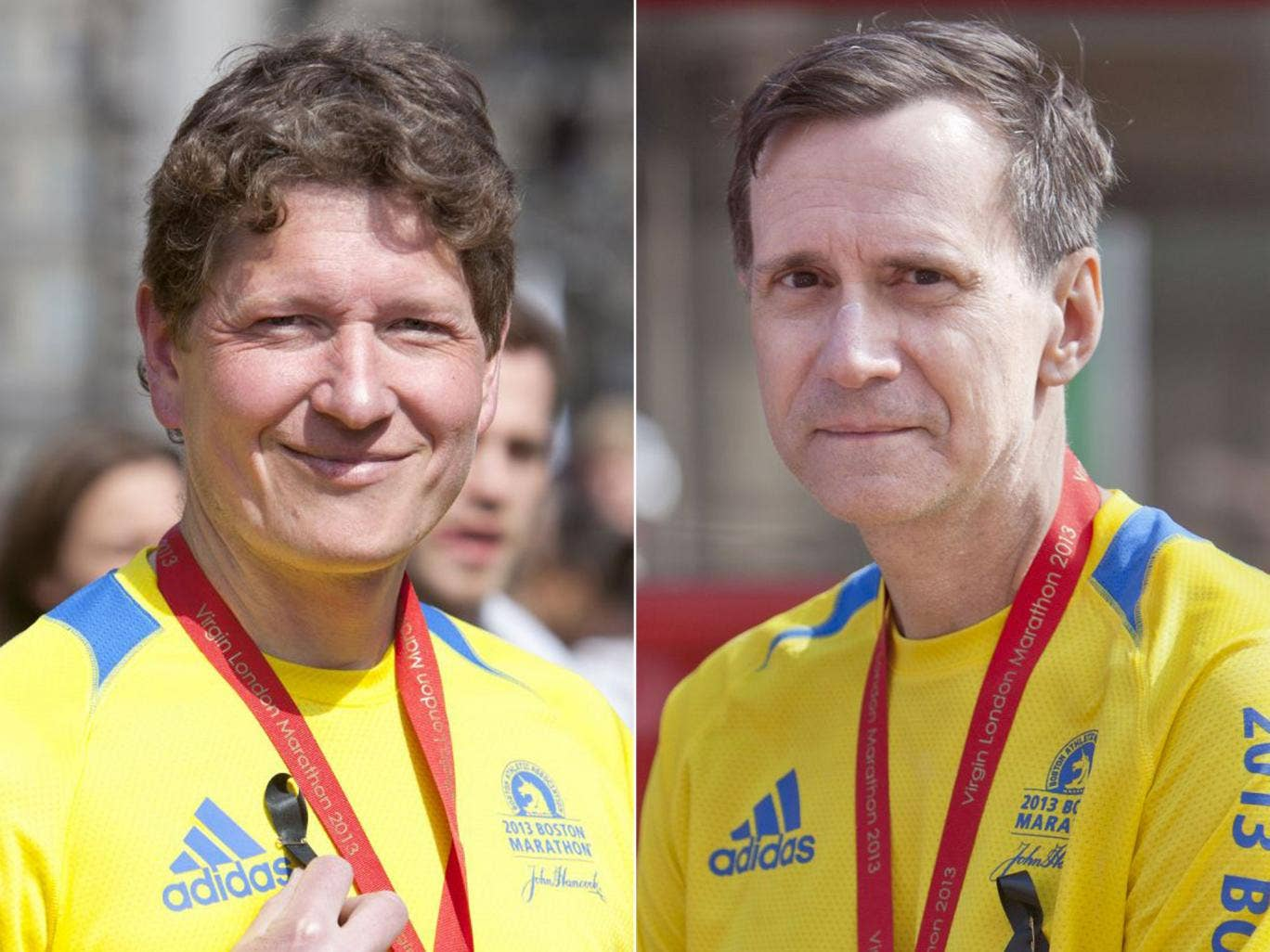 Mike Asche, left and Paul Arlt, right, both ran the Boston and London Marathons