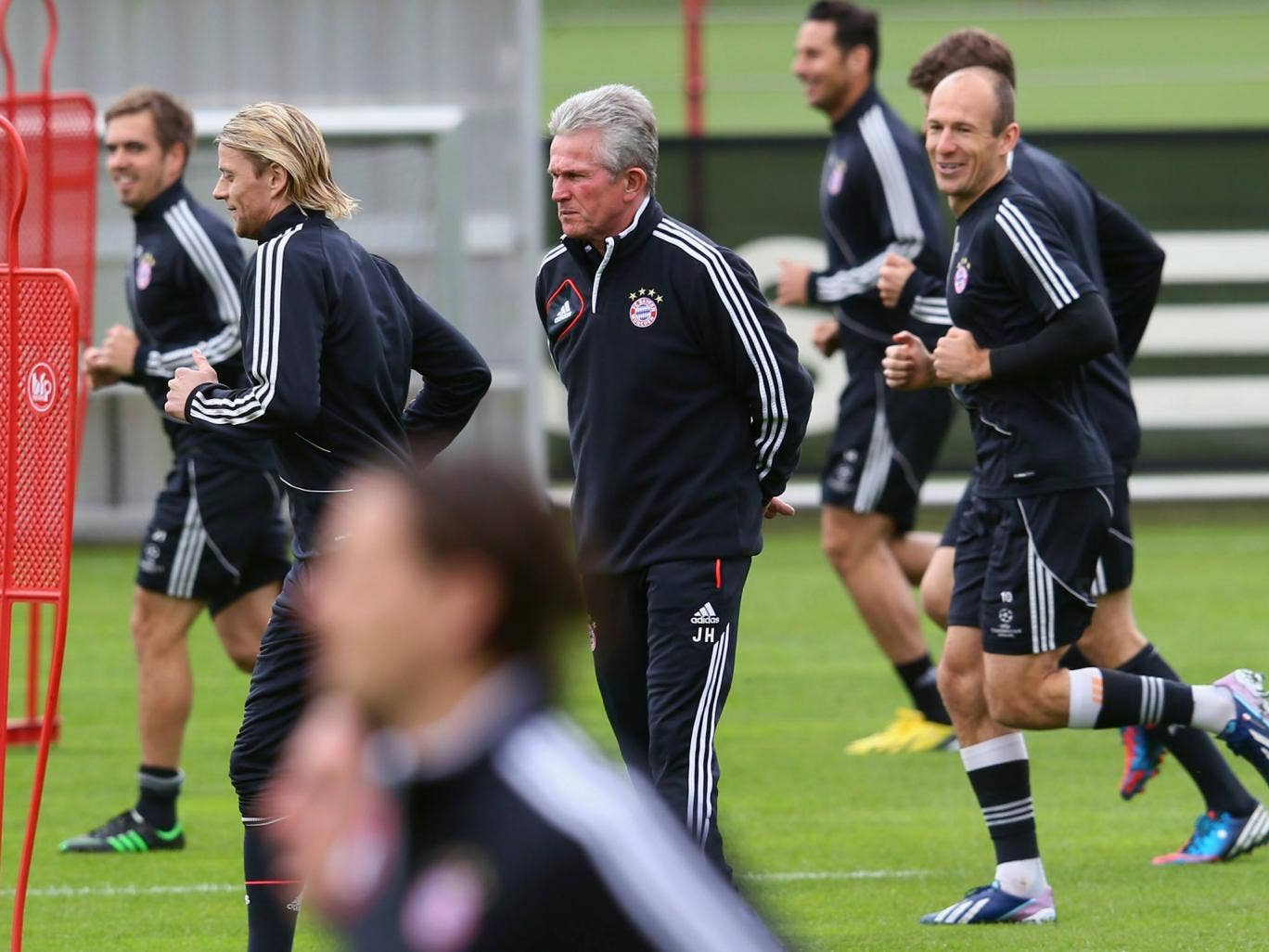 Jupp Heyncke watches over his Bayern team ahead of their match with Barcelona