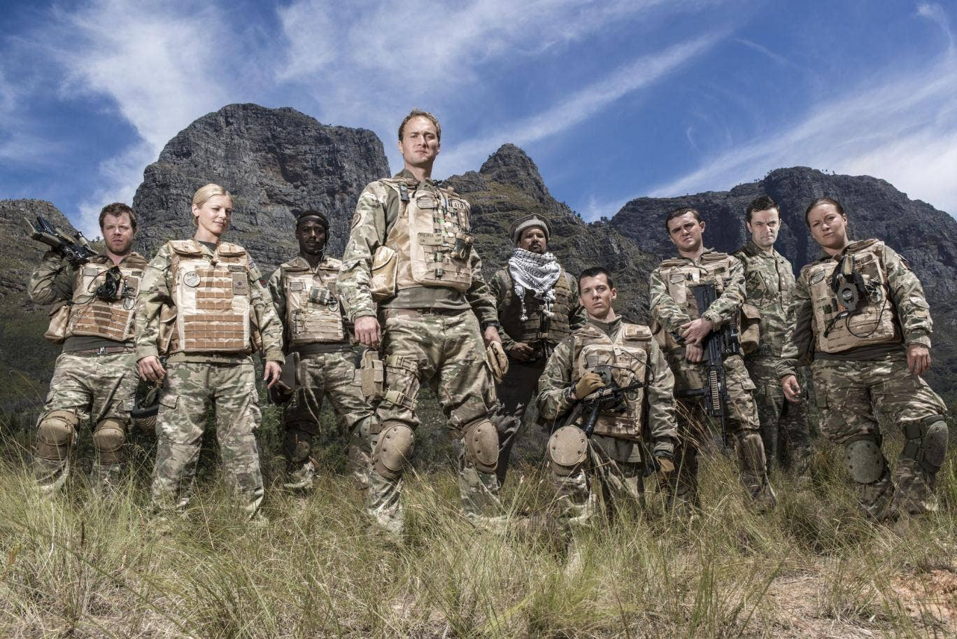 Bluestone 42: (L-R) : Simon (STEPHEN WIGHT), Mary (KELLY ADAMS), Millsy (GARY CARR), Nick Medhurst (OLIVER CHRIS), Faruq (KEENO LEE HECTOR), Rocket (SCOTT HOATSON), Mac (JAMIE QUINN), Lieutenant Colonel (TONY GARDNER), Bird (KATIE LYONS)