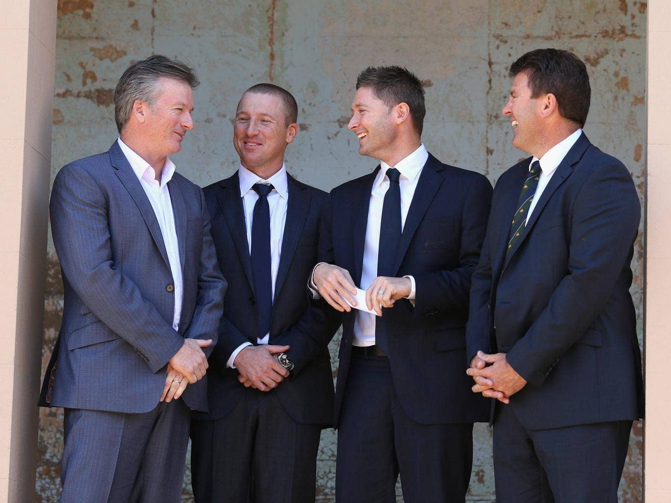 Former Australian captain Steve Waugh, Brad Haddin of Australia, Australian captain Michael Clarke, and former Australian captain Mark Taylor