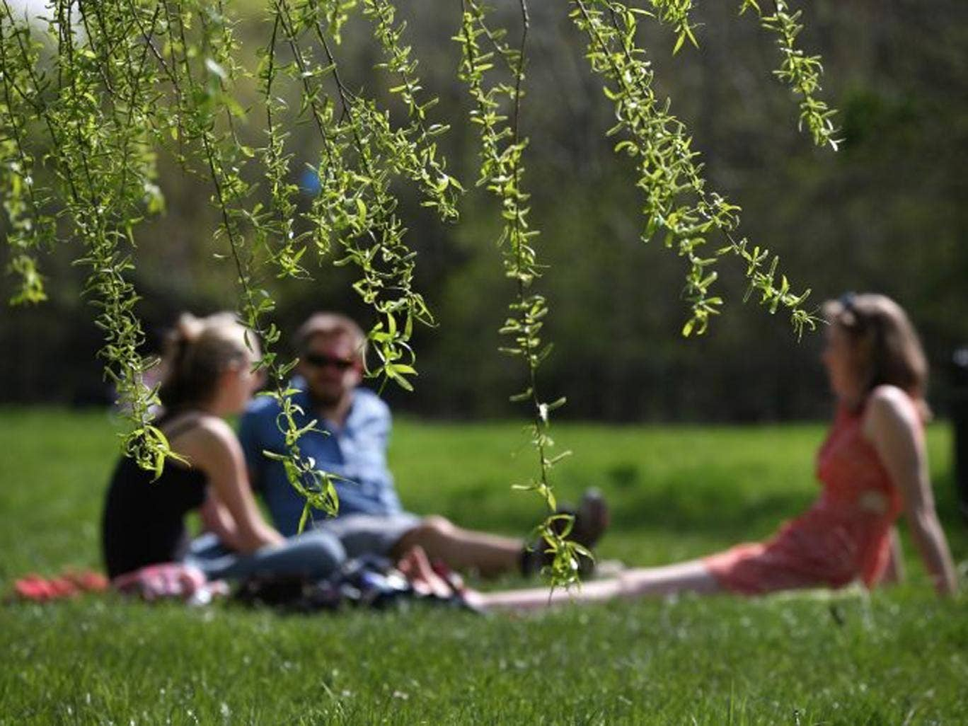 People enjoy a picnic on Wednesday in warmer weather in Regent's Park, London