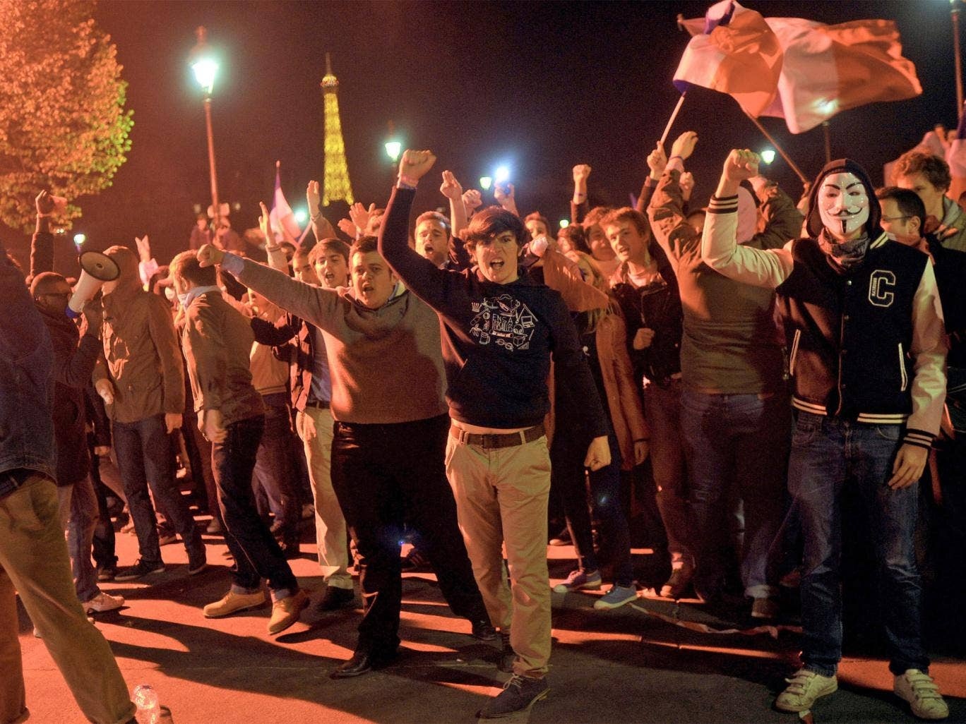 Anti-gay marriage protesters in Paris on Tuesday night