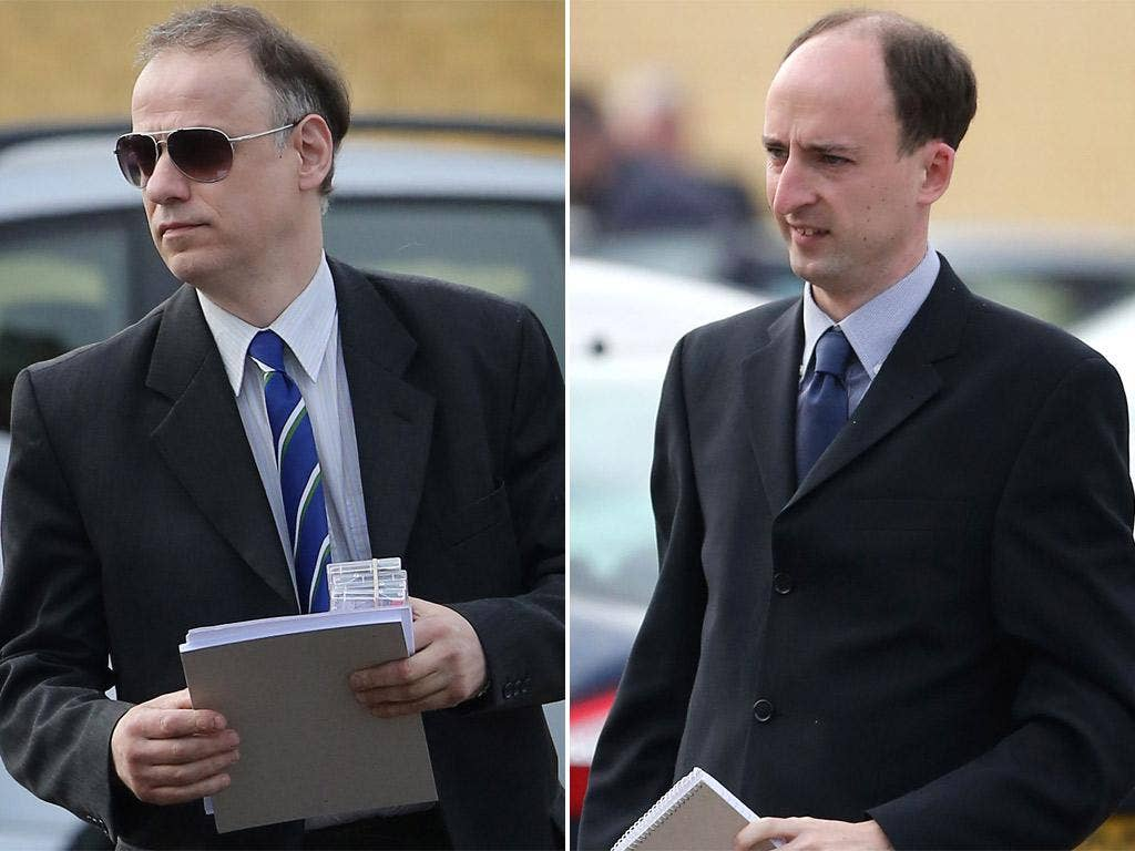 Maurice Leigh and Neil Bowdery arriving at Maidstone Crown Court