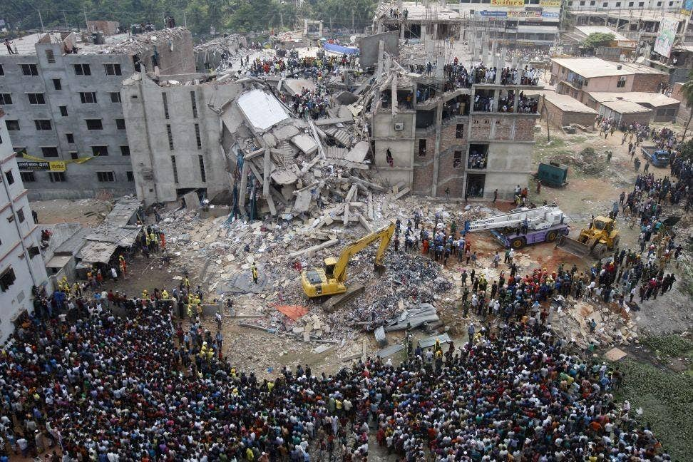 25 April 2013: The rescue operation continues at the eight-storey building Rana Plaza which collapsed at Savar, outside Dhaka