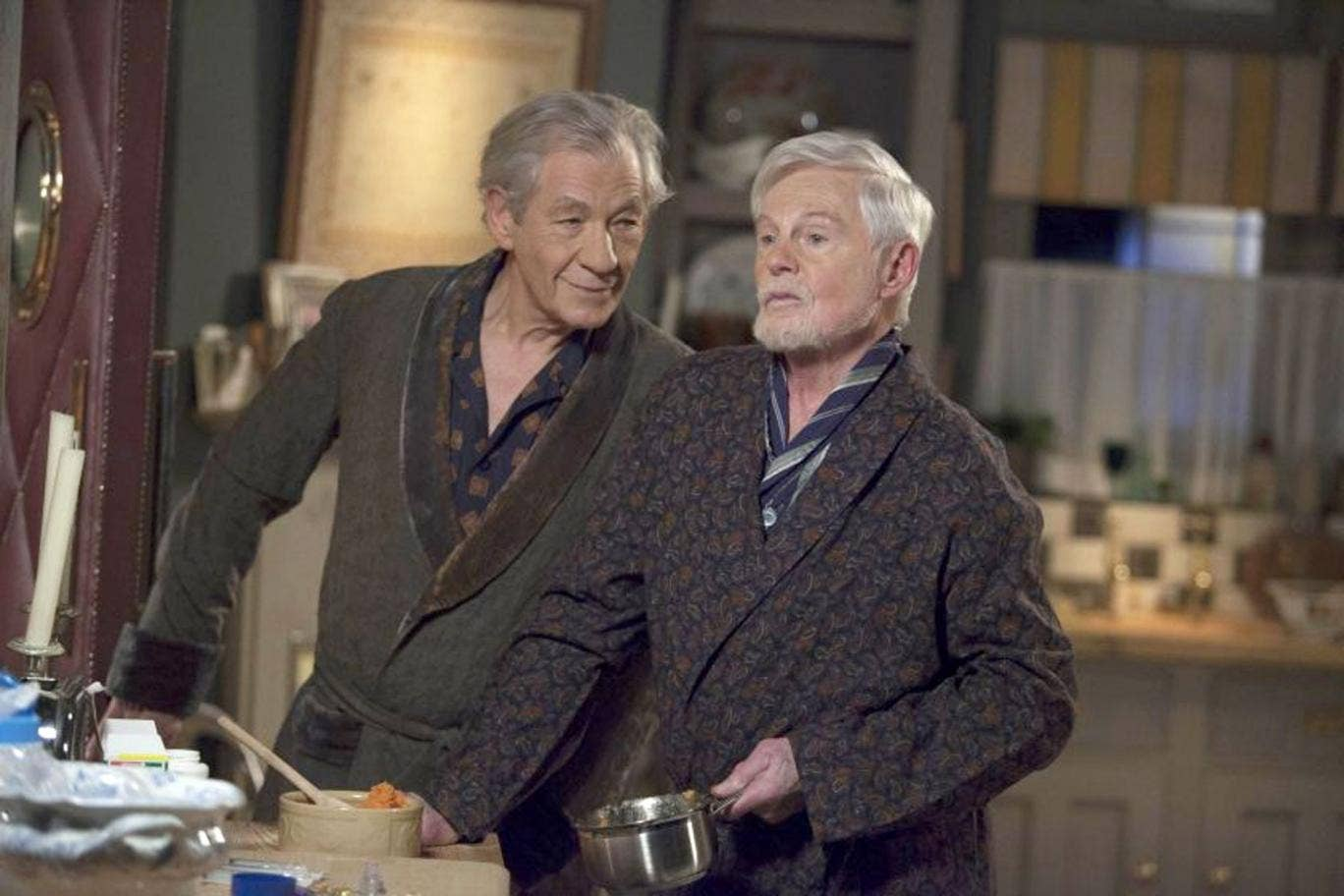 Sir Ian McKellen and Sir Derek Jacobi star as lifelong partners growing rancorously old together in ITV's new sitcom Vicious