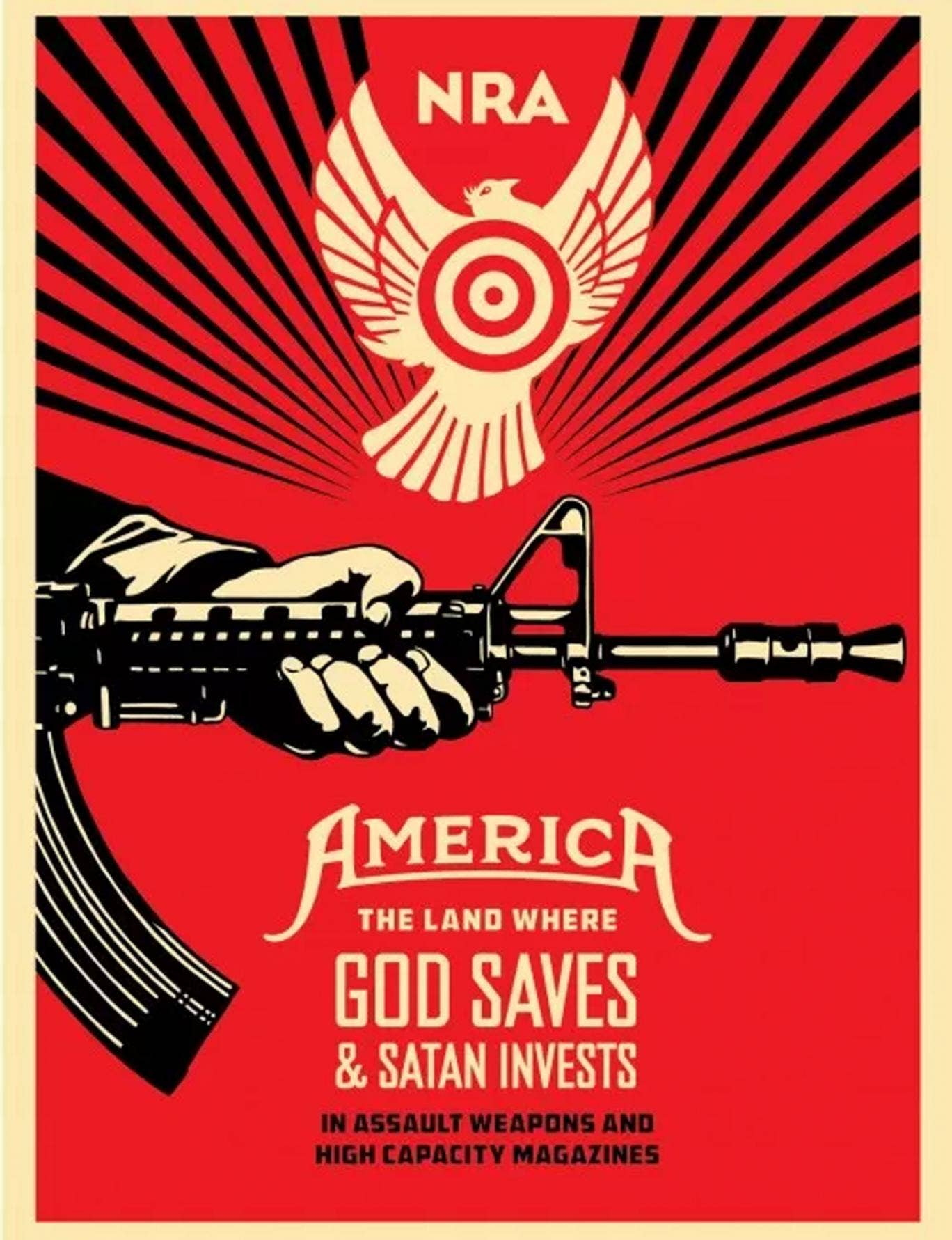 The new artwork by Shepard Fairey, attacking the anti-gun control lobby in America