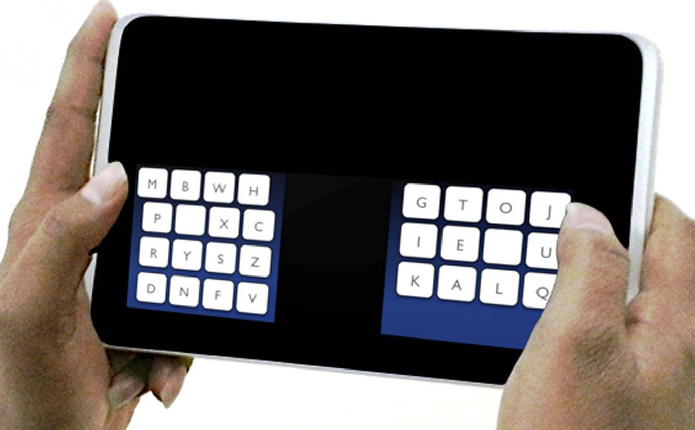 The Kalq keyboard rearranges letters and lets users type with their thumbs