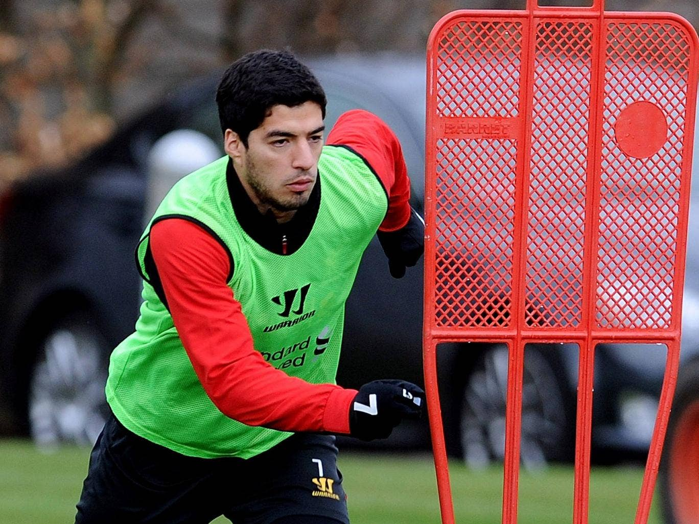 Luis Suarez pictured training with Liverpool today