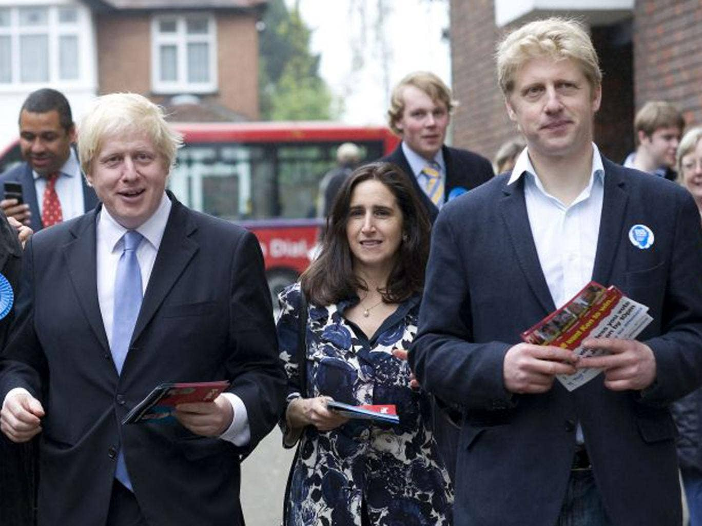 London Mayor Boris Johnson, with his wife Marina Wheeler and brother Joe, campaigning in Orpington