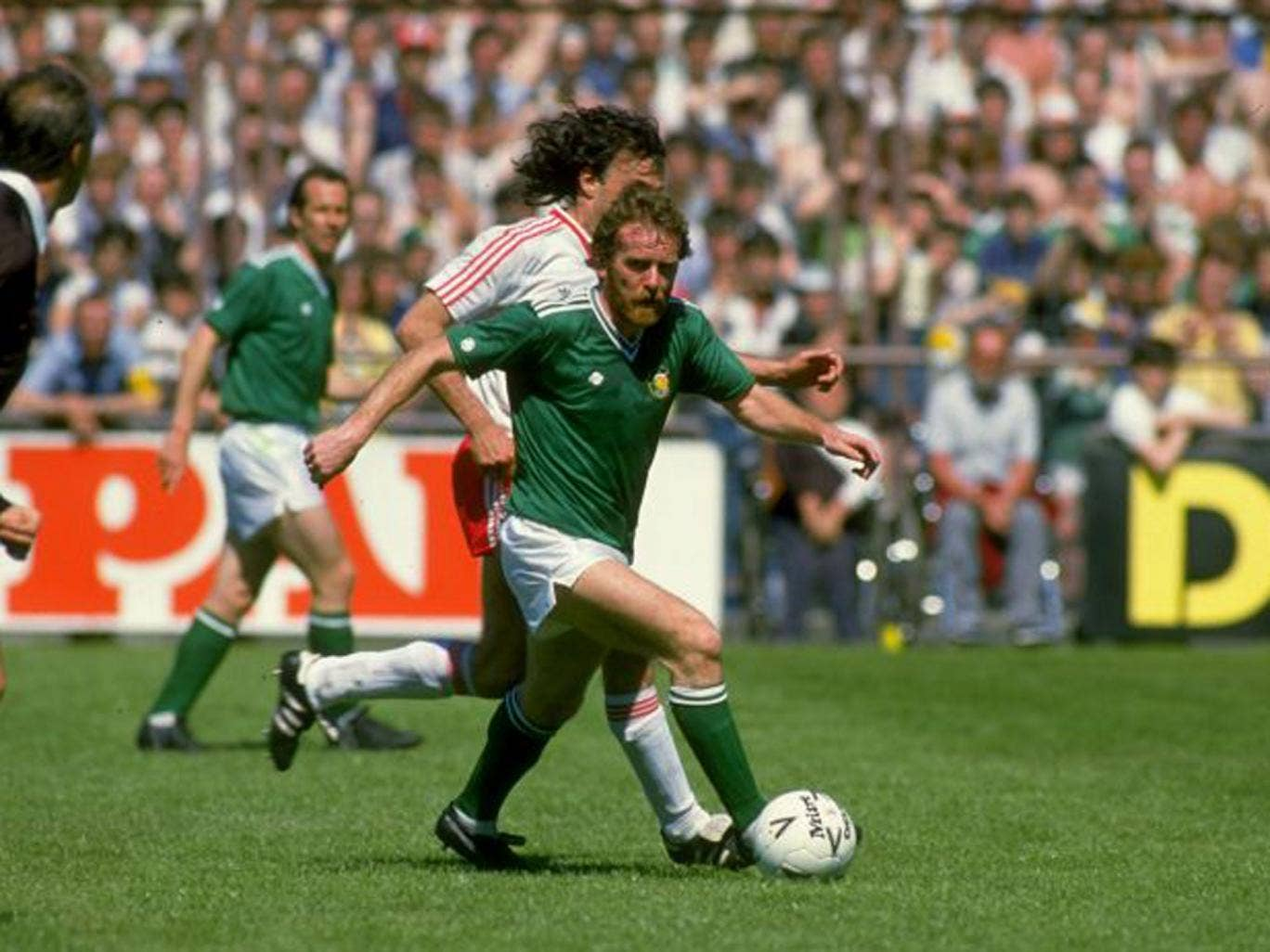 Piratical: Grealish takes on the Swiss in 1985