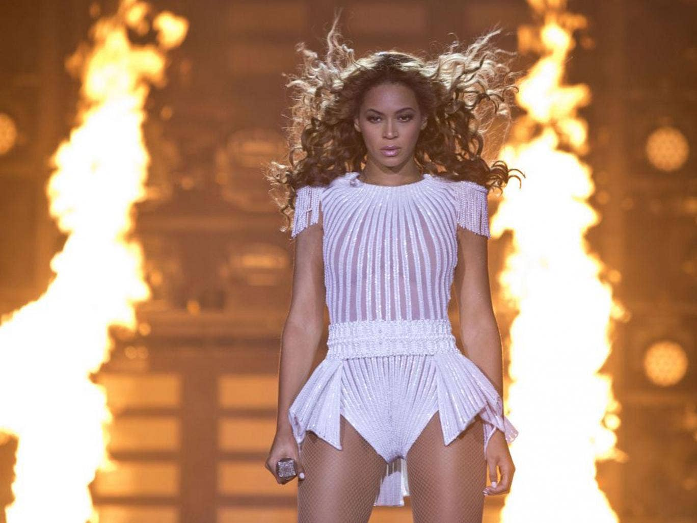 Flames, check. Wind machine, check. Beyoncé pulls out all of the theatrical stops on this tour