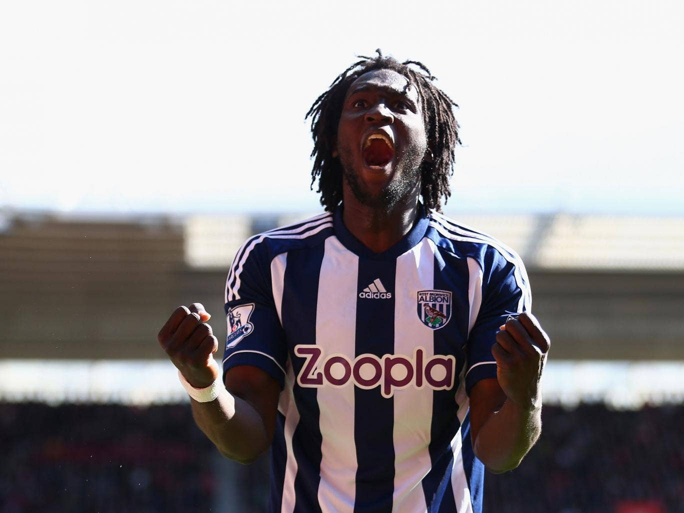 Romelu Lukaku of West Bromwich Albion celebrates scoring the second goal