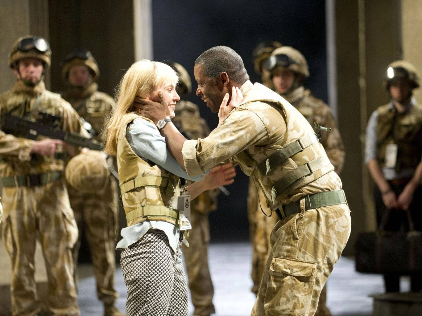 Love bomb: Olivia Vinall and Adrian Lester as the newlyweds in Othello
