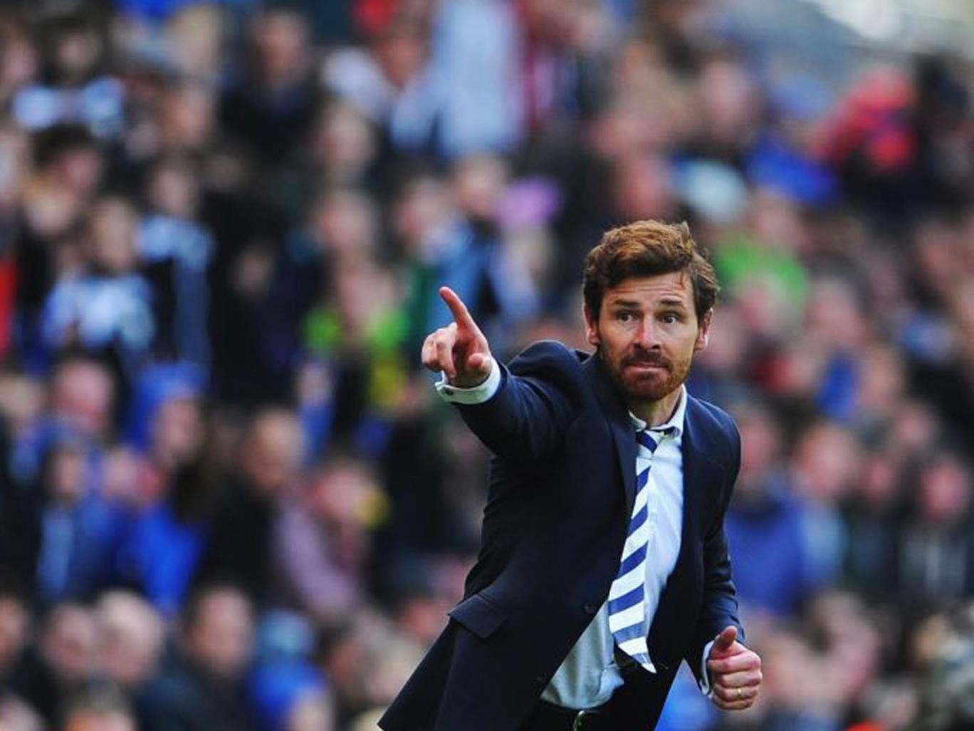 "After the game the Tottenham manager Andre Villas-Boas said his team's chase for a Champions' League place now ""depends on [the] results of our rivals"" (Getty Images)"