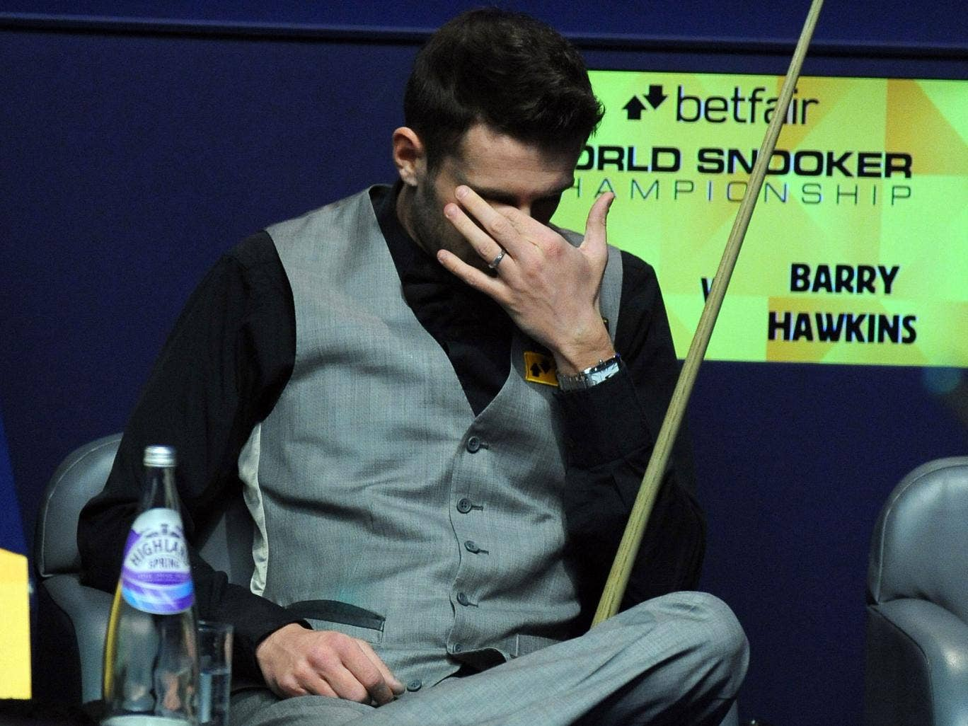 Not sitting pretty: World No 1 Mark Selby contemplates defeat yesterday