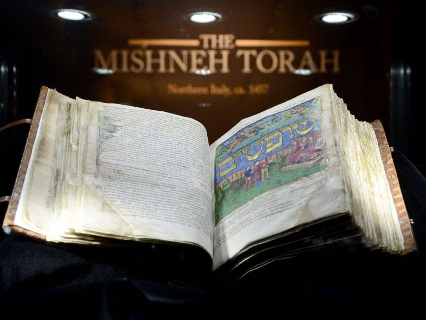 The Mishneh Torah on display at Sotheby's  in New York