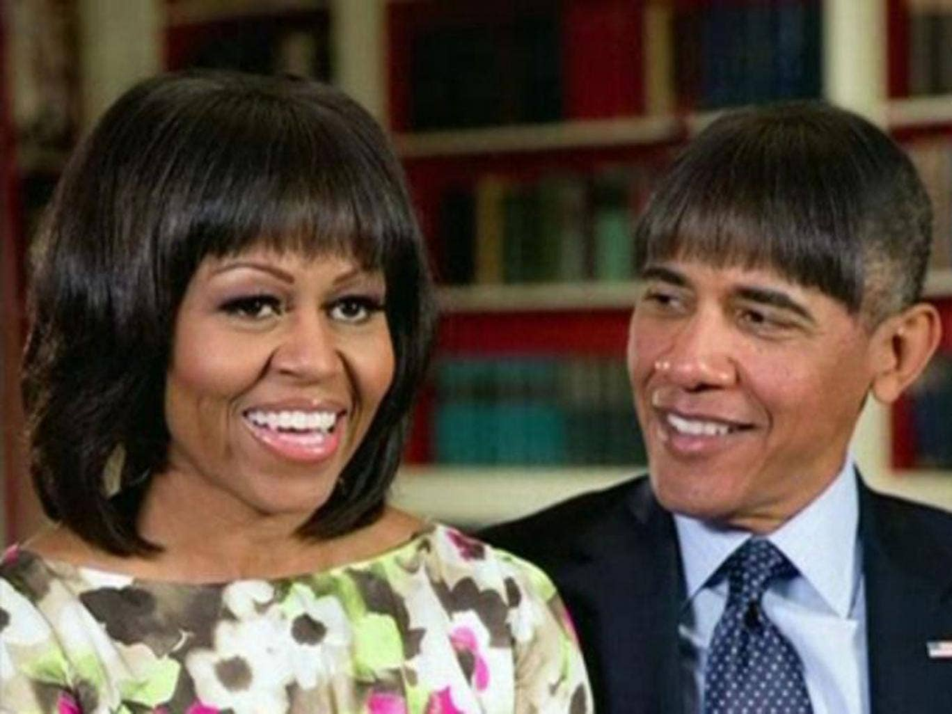 U.S. President Barack Obama makes light of his wife Michelle Obama's new bangs with a mock pictures of himself with the same hairdo in this humorous photo created by the White House shown at the annual White House Correspondents' Association dinner in Was