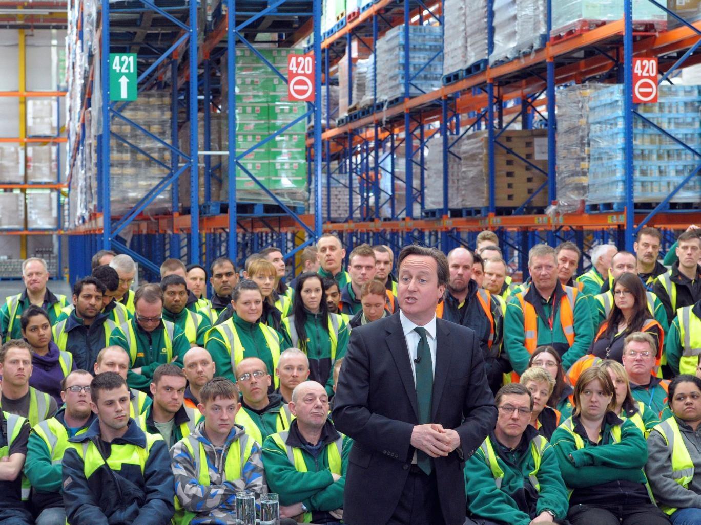 David Cameron speaks to Morrisons workers in Somerset