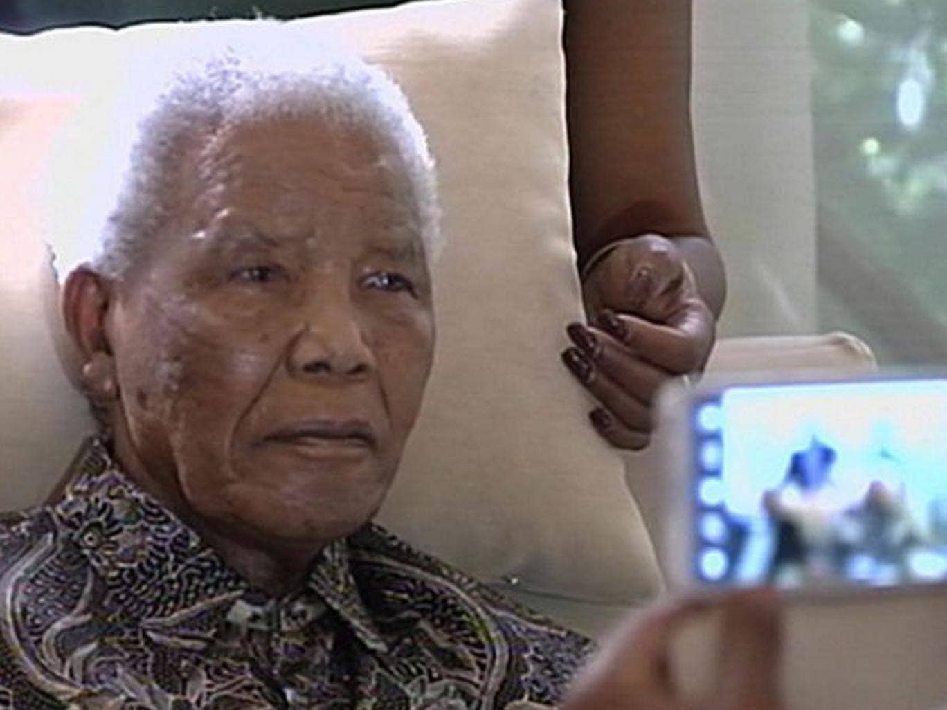 Picture of a frail Nelson Mandela in hospital. South African President Jacob Zuma said he found Nelson Mandela in good shape and in good spirits