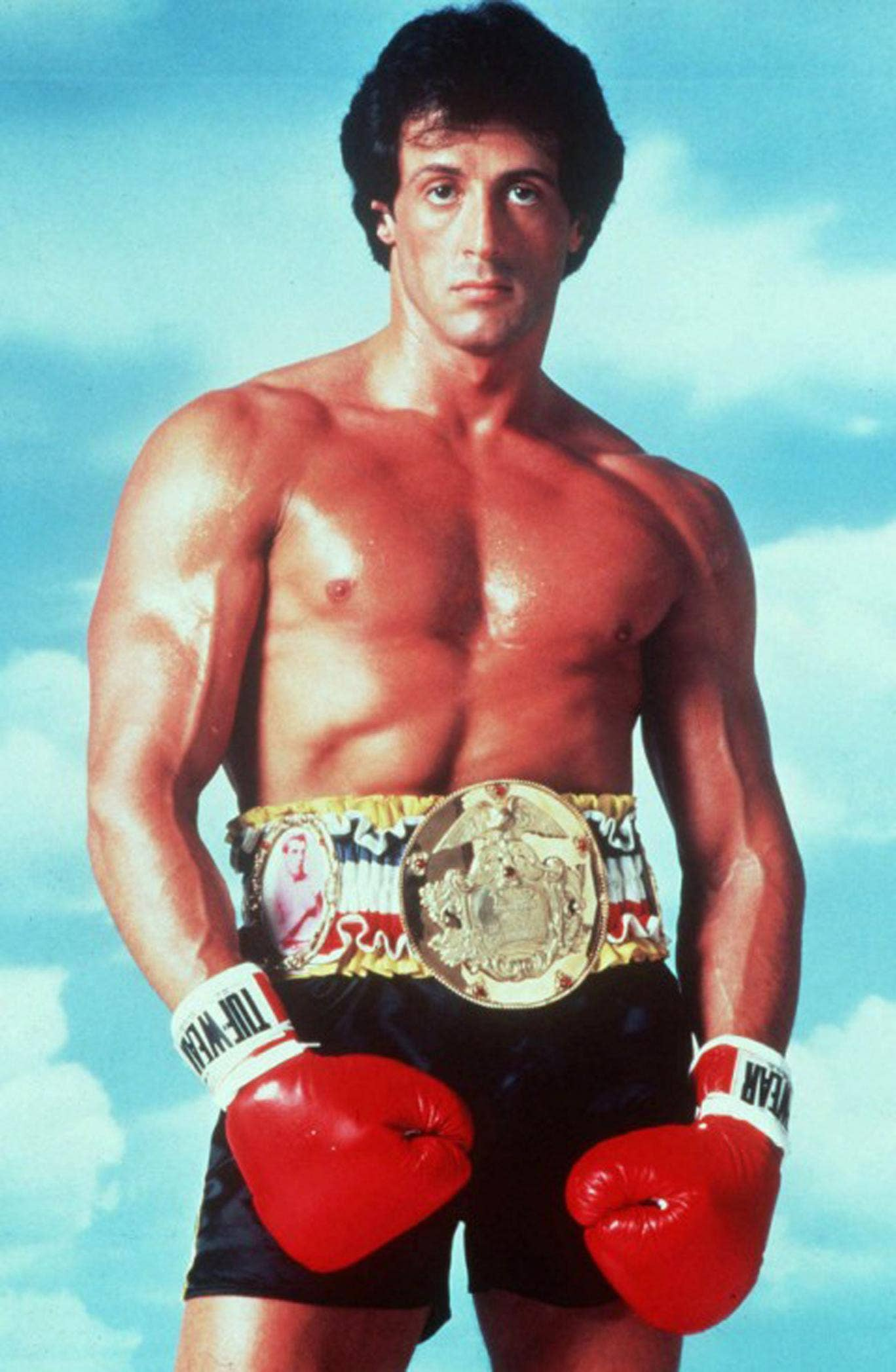 Sylvester Stallone poses in character as Rocky